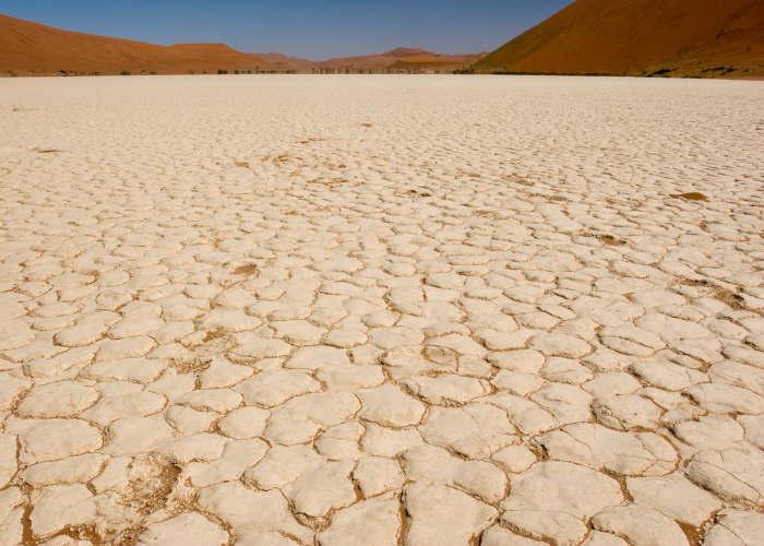 Il terreno in arenaria della Dead Vlei in Namibia