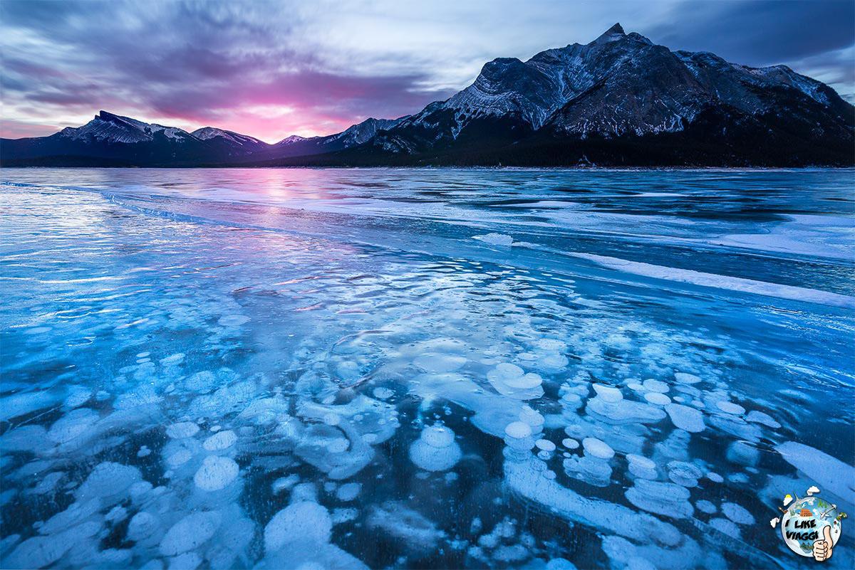 Il famoso Lago Abraham con le sue Bolle di Ghiaccio