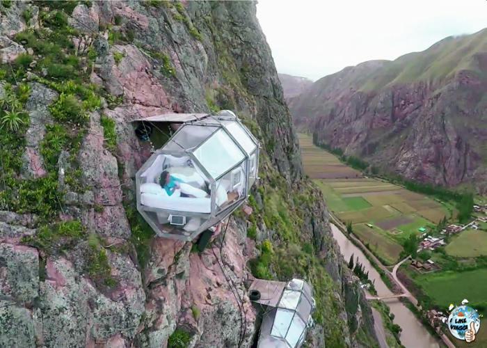 Una delle capsule dello Skylodge in Perù