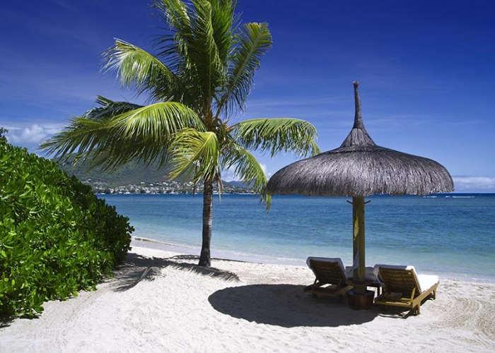 Un ombrellone di una spiaggia a Mauritius