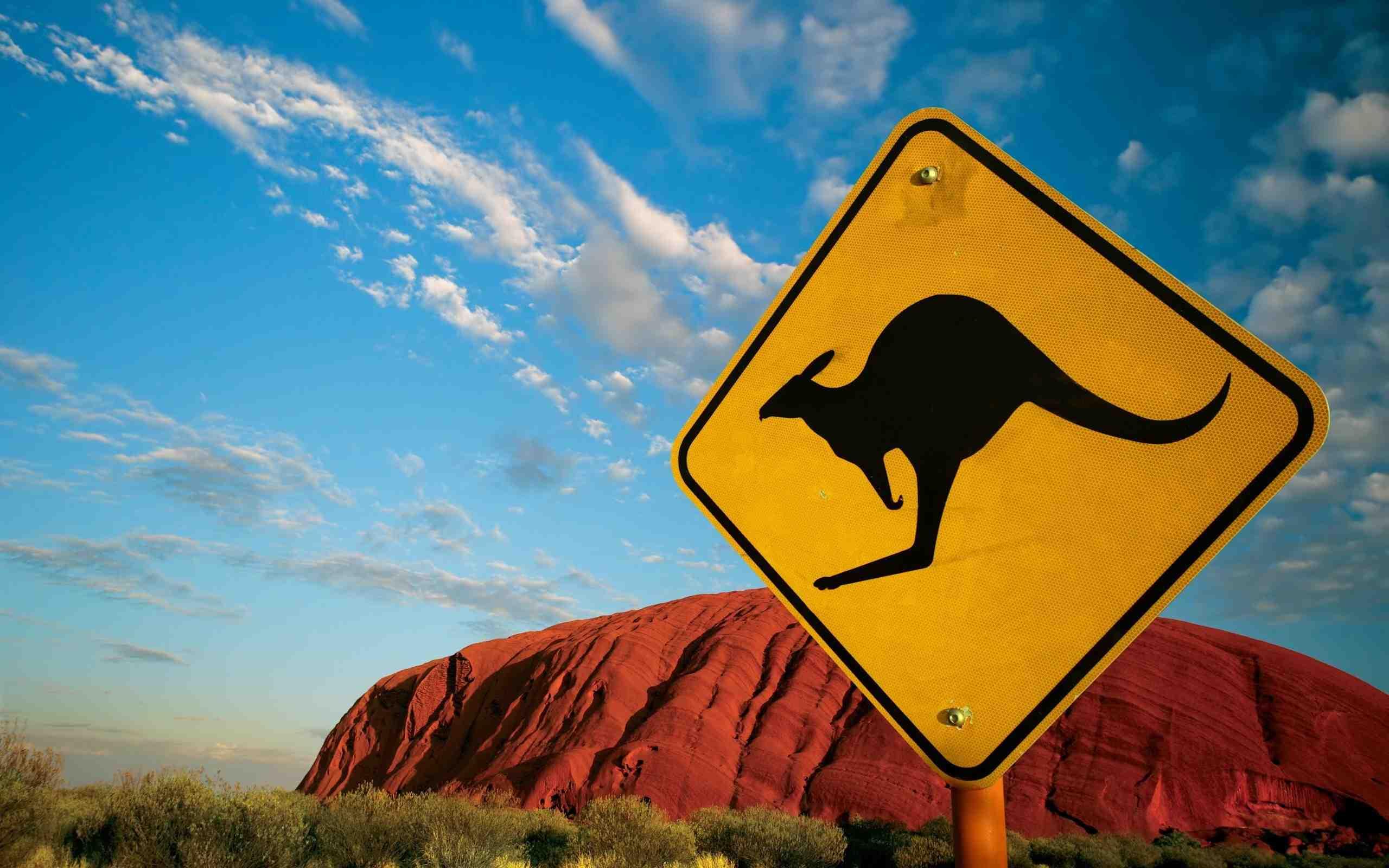 Un cartello di avviso zona canguri