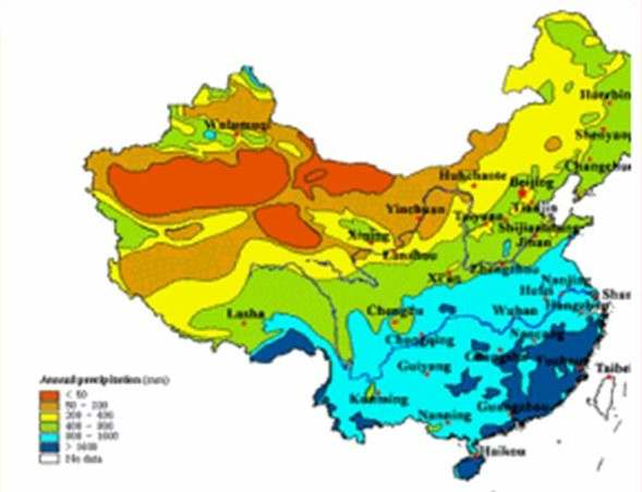 Cartina delle temperature in Cina