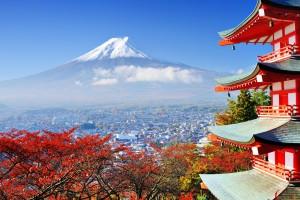 Tempio Con Bosco E Monte Fuji